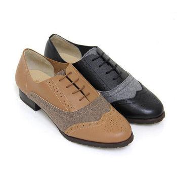 【GREEN PHOENIX】輕甜學院復刻雕花毛呢拼接綁帶全真皮低跟牛津鞋-棕色、黑色