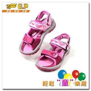 【G.P 色彩繽紛休閒童涼鞋】磁扣兩用涼鞋G5932B-45(桃紅色)(尺碼26-34)共有三色