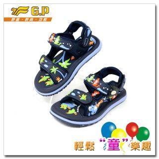 【G.P 可愛動物圖案童涼鞋】G5935B-20多功能磁扣涼鞋(藍色)24-30碼