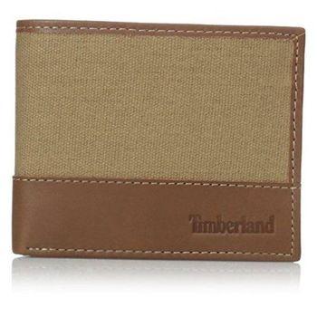 Timberland 2015男時尚卡其棕帆布皮革雙折色皮夾(預購)