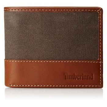 Timberland 2015男時尚深褐棕帆布皮革雙折色皮夾(預購)