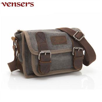 【Vensers】韓潮頂級棉麻包系列~斜肩背包(C201601灰色)