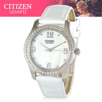 【CITIZEN 日系星辰】日系銀系列-晶鑽款皮革女錶(EL3010-05D)