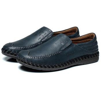 【HaoxinG】款D091541深藍色男鞋休閑鞋秋季新款英倫板鞋男士皮鞋真皮透氣單鞋潮鞋(JHS杰恆社)