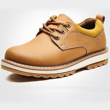 【HaoxinG】款D108541棕黃色秋冬英倫男鞋大頭鞋男士休閑鞋板鞋真皮鞋工裝鞋低幫鞋(JHS杰恆社)