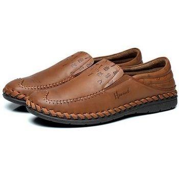【HaoxinG】款D091541淺棕色男鞋休閑鞋秋季新款英倫板鞋男士皮鞋真皮透氣單鞋潮鞋(JHS杰恆社)
