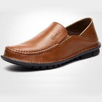 【HaoxinG】款D282541棕色春秋新款舒適休閑男鞋套腳真皮商務休閑男士手工皮鞋(JHS杰恆社)