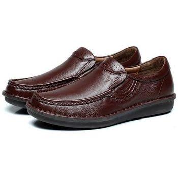 【HaoxinG】款D291541棕色秋季商務男士休閑皮鞋男英倫潮真皮套腳婚鞋透氣單鞋子(JHS杰恆社)