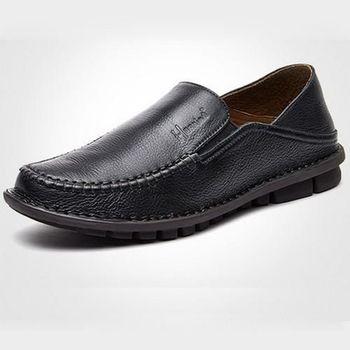 【HaoxinG】款D282541黑色春秋新款舒適休閑男鞋套腳真皮商務休閑男士手工皮鞋(JHS杰恆社)