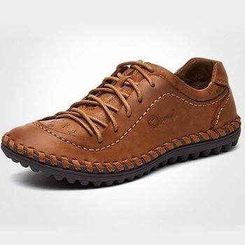 【HaoxinG】款D950541淺棕色男士真皮頭層皮鞋休閑板鞋男手工縫制鞋正品駕車潮鞋(JHS杰恆社)