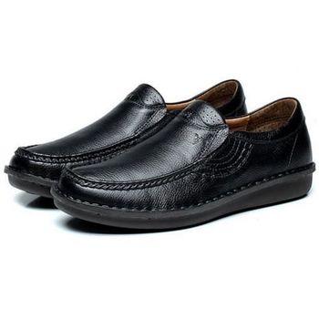 【HaoxinG】款D291541黑色秋季商務男士休閑皮鞋男英倫潮真皮套腳婚鞋透氣單鞋子(JHS杰恆社)