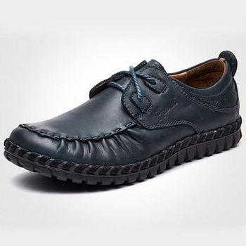 【HaoxinG】款D553541深藍色春季新款休閑男鞋真皮系帶商務休閑男士手工縫制皮鞋(JHS杰恆社)