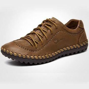 【HaoxinG】款D950541卡其色男士真皮頭層皮鞋休閑板鞋男手工縫制鞋正品駕車潮鞋(JHS杰恆社)