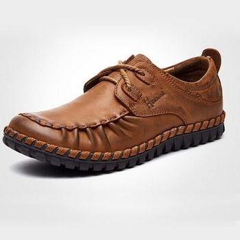 【HaoxinG】款D553541淺棕色春季新款休閑男鞋真皮系帶商務休閑男士手工縫制皮鞋(JHS杰恆社)