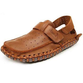 【HaoxinG】款D961231淺棕色夏季韓版男涼鞋手工真皮休閑皮鞋透單鞋潮沙灘男士鞋子(JHS杰恆社)