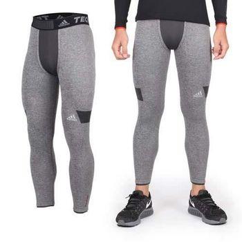 【ADIDAS】男保暖機能緊身長褲- 刷毛 愛迪達 灰黑