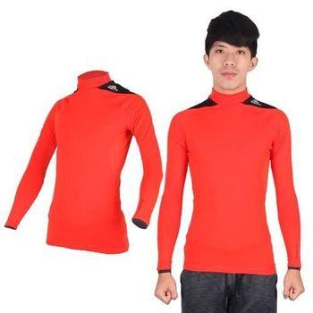 【ADIDAS】男保暖機能長袖上衣- 愛迪達 長T恤  刷毛 橘黑