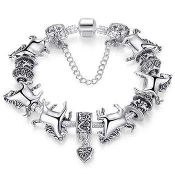 【米蘭精品】潘朵拉元素串珠手鍊925純銀純銀飾品