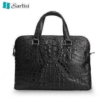 【Sarlisi】商務男士鱷魚皮手提包(灰黑色、黑色)