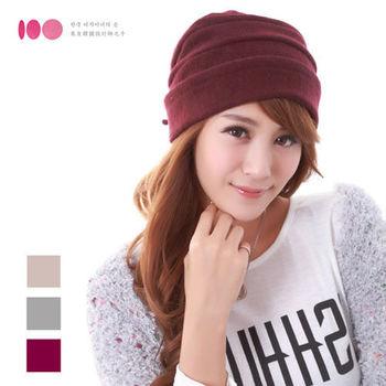 【台灣素材】反摺綁帶造型100%羊毛帽(3色)