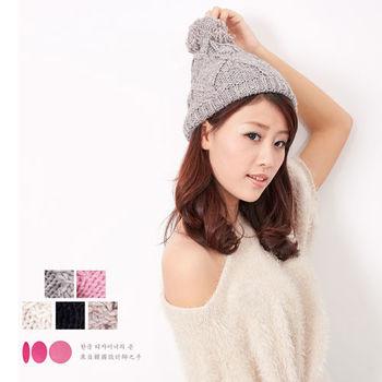 【MIT台灣製】毛球雙層扁帽+發熱紗 針織毛線帽(5色)