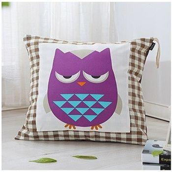【協貿】時尚簡約設計床頭憂鬱貓頭鷹靠枕含芯