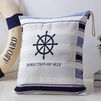 【協貿】時尚簡約鈕扣設計床頭大船舵靠枕含芯