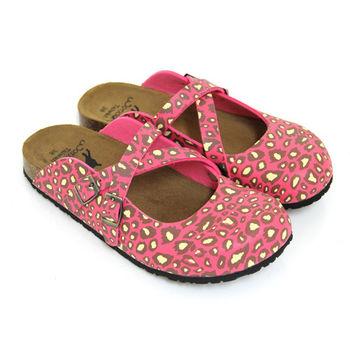 【Pretty】甜美豹紋交叉前包後空拖鞋-桃紅色