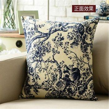 【協貿】中式古典大氣素雅潑墨青瓷棉麻布藝抱枕含芯