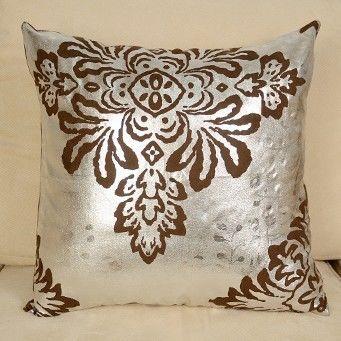 【協貿】歐式奢華大馬士革燙銀麂皮絨沙發抱枕含芯