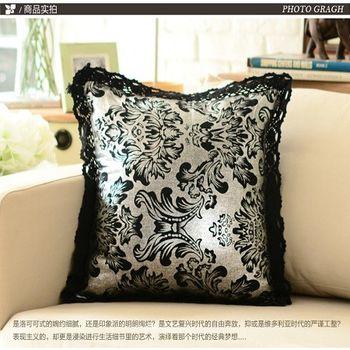 【協貿】歐式奢華大馬士革棉麻燙銀鏤空花邊沙發靠墊含芯