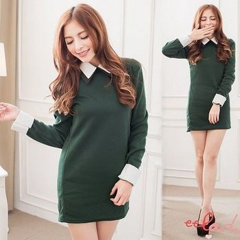 【EELADY】雙層領內刷毛連身洋裝-綠