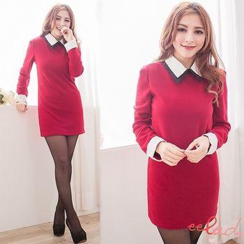 【EELADY】雙層領內刷毛連身洋裝-紅