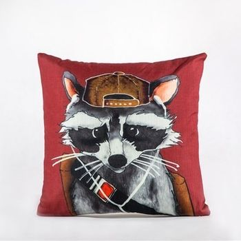 【協貿】現代創意動物高檔竹節棉時尚印花小浣熊抱枕含芯