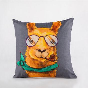 【協貿】現代創意動物高檔竹節棉時尚印花羊駝抱枕含芯
