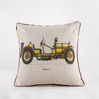 【協貿】創意棉麻印花時尚家居布藝黃色汽車抱枕含芯