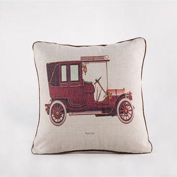 【協貿】創意棉麻印花時尚家居布藝紅色汽車抱枕含芯