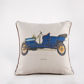 【協貿】創意棉麻印花時尚家居布藝藍色汽車抱枕含芯