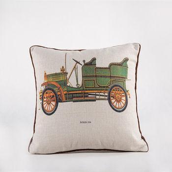【協貿】創意棉麻印花時尚家居布藝綠色汽車抱枕含芯
