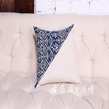 【協貿】現代中式古典青花亞麻斜版印花休閒時尚抱枕含芯