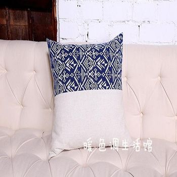 【協貿】現代中式古典青花亞麻半版印花休閒時尚抱枕含芯