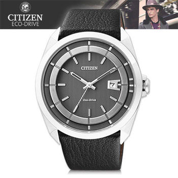 【CITIZEN 星辰】光動能_防水50米_小牛皮錶帶紳士錶(AW1070-04H)