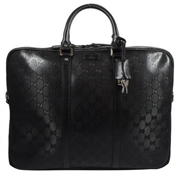 GUCCI 201480 經典雙G防水PVC皮飾邊手提公事包.黑