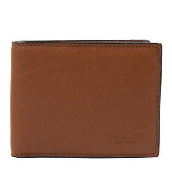 COACH 75016 經典烙印LOGO皮革壓紋簡式短夾.咖