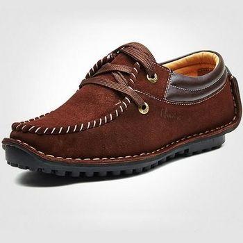 【HaoxinG】款D208541暗棕色秋季新款反絨牛皮豆豆鞋時尚駕車鞋子男士日常休閑鞋(JHS杰恆社)