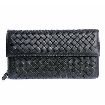 【Yasmine】時尚經典綿羊皮編織釘釦長夾(黑)