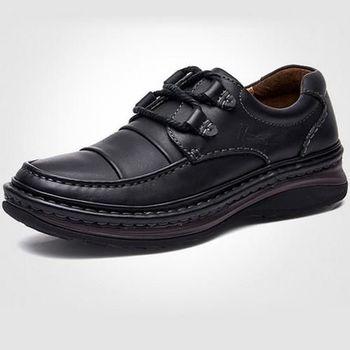 【HaoxinG】款D710541墨黑色春秋新款舒適休閑男鞋系帶真皮商務休閑男士手工皮鞋(JHS杰恆社)