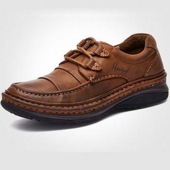 【HaoxinG】款D710541淺棕色春秋新款舒適休閑男鞋系帶真皮商務休閑男士手工皮鞋(JHS杰恆社)