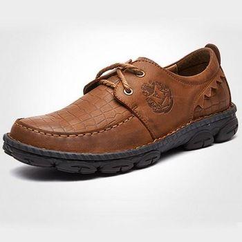 【HaoxinG】款D466541紅棕色春季鱷魚紋休閑男鞋系帶真皮商務休閑男士手工縫制皮鞋(JHS杰恆社)