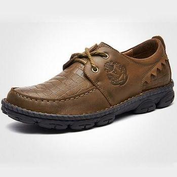 【HaoxinG】款D466541卡其色春季鱷魚紋休閑男鞋系帶真皮商務休閑男士手工縫制皮鞋(JHS杰恆社)